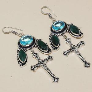 Tpz 401a boucles croix crucifix oreilles topaze saphir bijou argent 925 vente achat