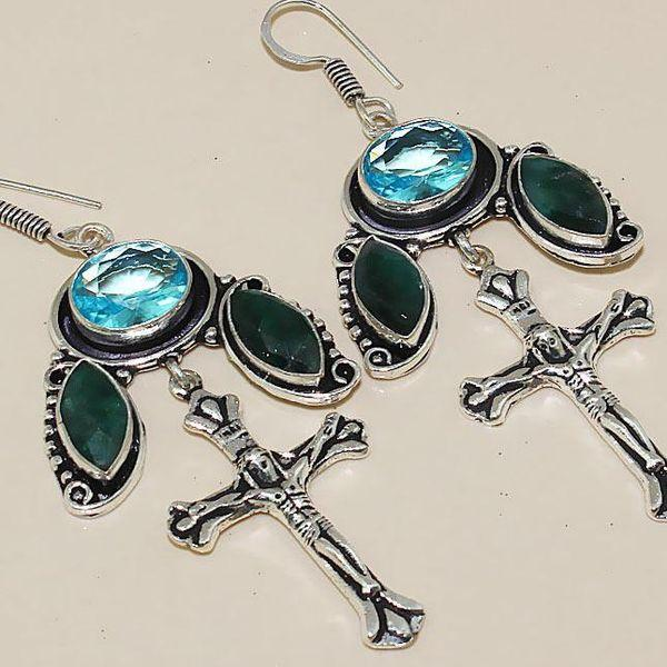 Tpz 401c boucles croix crucifix oreilles topaze saphir bijou argent 925 vente achat