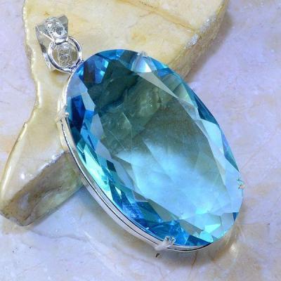 Tpz 403a pendentif pierre topaze bleu suisse gemme lithotherapie bijou argent 925 vente achat