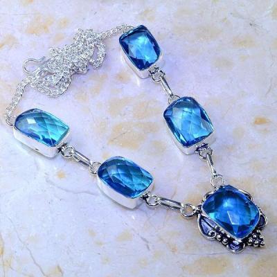 Tpz 408a collier sautoir parure topaze bleue iolite bijou argent 925 vente achat