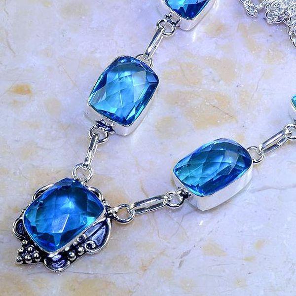 Tpz 408b collier sautoir parure topaze bleue iolite bijou argent 925 vente achat