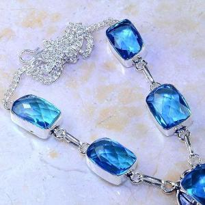 Tpz 408c collier sautoir parure topaze bleue iolite bijou argent 925 vente achat