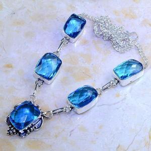 Tpz 408d collier sautoir parure topaze bleue iolite bijou argent 925 vente achat