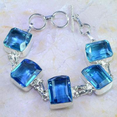 Tpz 414a bracelet topaze quartz bleue tanzanite bijou argent 925 vente achat
