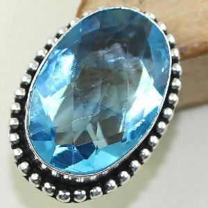 Tpz 420a bague t57 chevaliere medievale topaze bleue iolite bijoux argent 925 vente achat