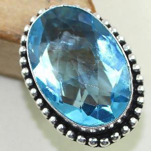 Tpz 420b bague t57 chevaliere medievale topaze bleue iolite bijoux argent 925 vente achat