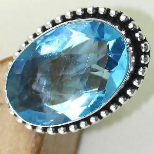 Tpz 420c bague t57 chevaliere medievale topaze bleue iolite bijoux argent 925 vente achat