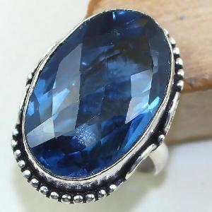 Tpz 426a bague t54 chevaliere medievale topaze bleue iolite bijoux argent 925 vente achat