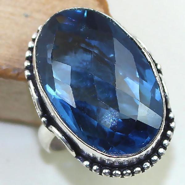 Tpz 426b bague t54 chevaliere medievale topaze bleue iolite bijoux argent 925 vente achat