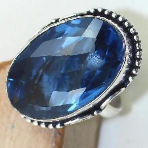 Tpz 426c bague t54 chevaliere medievale topaze bleue iolite bijoux argent 925 vente achat
