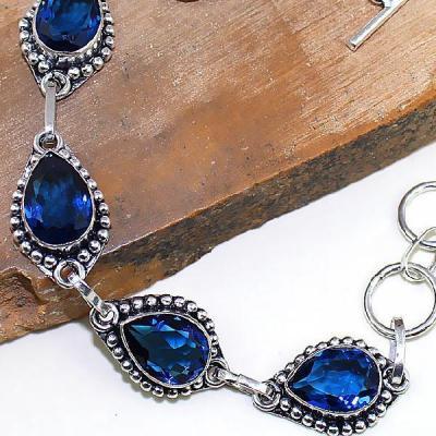 Tpz 427c bracelet medieval topaze bleue iolite bijoux argent 925 vente achat