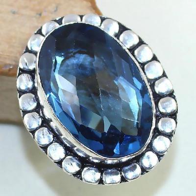 Tpz 429b bague t59 chevaliere medievale topaze bleue iolite bijoux argent 925 vente achat