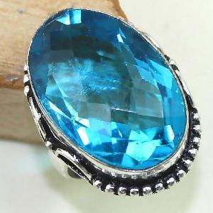 Tpz 432b bague t59 chevaliere medievale topaze bleue iolite bijoux argent 925 vente achat