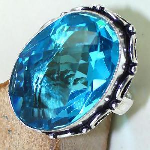Tpz 433c bague t57 chevaliere medievale topaze bleue suisse bijoux argent 925 vente achat