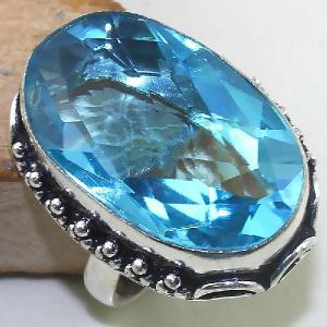 Tpz 435b bague t60 chevaliere medievale topaze bleue suisse bijoux argent 925 vente achat