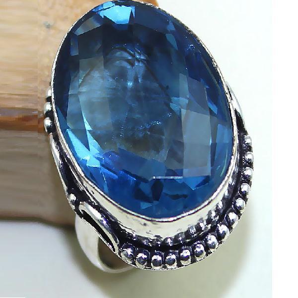 Tpz 437a bague t61 chevaliere medievale topaze bleue iolite bijoux argent 925 vente achat