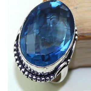 Tpz 437b bague t61 chevaliere medievale topaze bleue iolite bijoux argent 925 vente achat