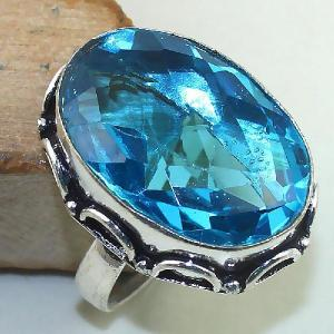 Tpz 438b bague t59 chevaliere medievale topaze bleue suisse bijoux argent 925 vente achat