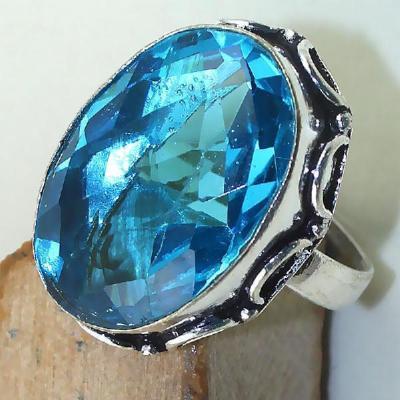 Tpz 438c bague t59 chevaliere medievale topaze bleue suisse bijoux argent 925 vente achat
