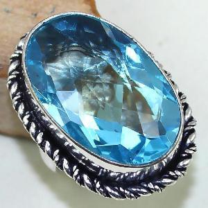Tpz 439b bague t55 chevaliere medievale topaze bleue suisse bijoux argent 925 vente achat 1