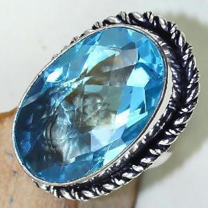 Tpz 439c bague t55 chevaliere medievale topaze bleue suisse bijoux argent 925 vente achat 1