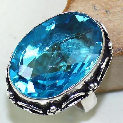 Tpz 440a bague t56 chevaliere medievale topaze bleue suisse bijoux argent 925 vente achat