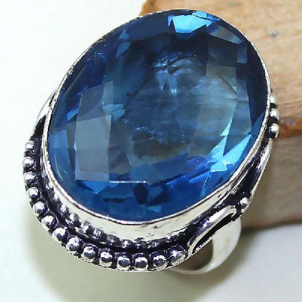 Tpz 442a bague t59 chevaliere medievale topaze bleue iolite bijoux argent 925 vente achat