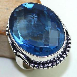 Tpz 442b bague t59 chevaliere medievale topaze bleue iolite bijoux argent 925 vente achat