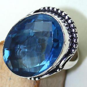 Tpz 442c bague t59 chevaliere medievale topaze bleue iolite bijoux argent 925 vente achat