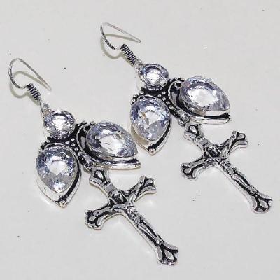 Tpz 452a boucles croix crucifix oreilles topaze blanche cristal argent 925 vente achat