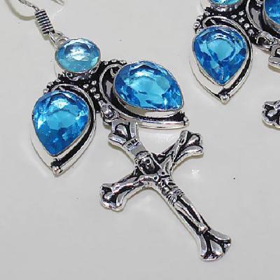Tpz 453c boucles croix crucifix oreilles topaze bleue cristal argent 925 vente achat
