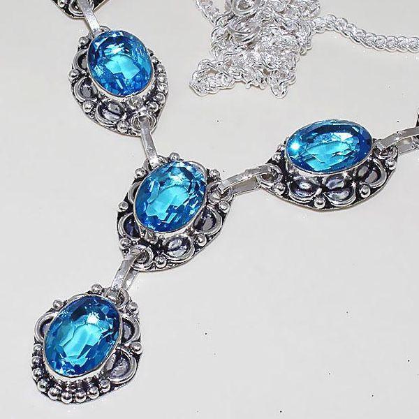 Tpz 460b collier sautoir parure topaze bleue iolite bijou argent 925 vente achat