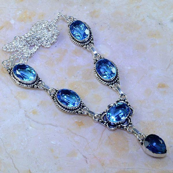 Tpz 465a collier sautoir parure topaze bleue suisse iolite argent 925 vente achat 1