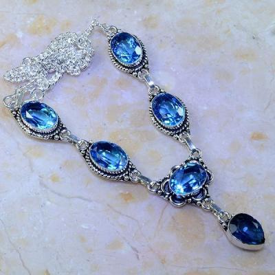Tpz 465a collier sautoir parure topaze bleue suisse iolite argent 925 vente achat