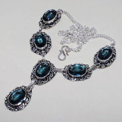 Tpz 466d collier sautoir parure topaze bleue suisse iolite argent 925 vente achat