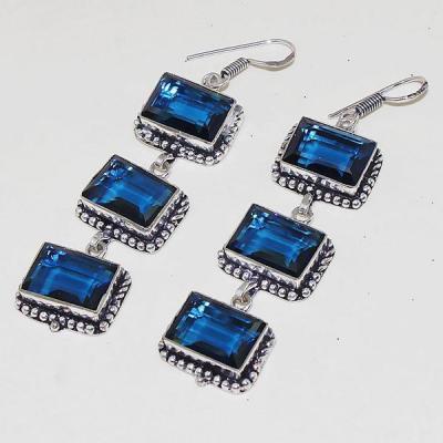 TPZ-468 - grande BOUCLES D'OREILLES 70 mm avec 6 TOPAZES Bleues iolite - monture en argent 925 - 109 carats 21.8 gr