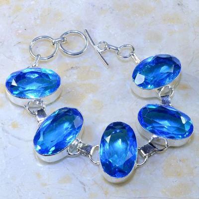 Tpz 471a bracelet topaze quartz bleue tanzanite bijou argent 925 vente achat
