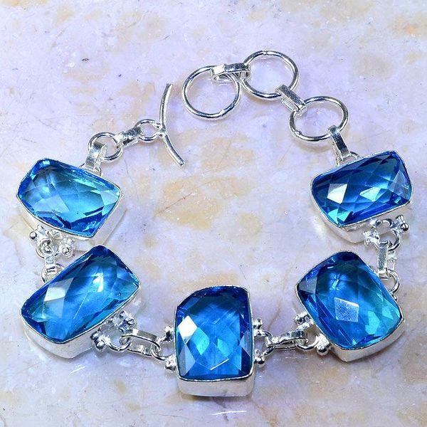 Tpz 472a bracelet topaze quartz bleue tanzanite bijou argent 925 vente achat