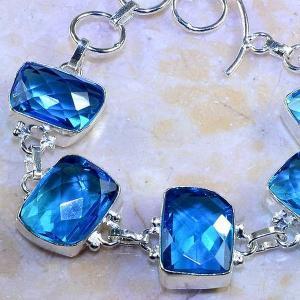 Tpz 472b bracelet topaze quartz bleue tanzanite bijou argent 925 vente achat