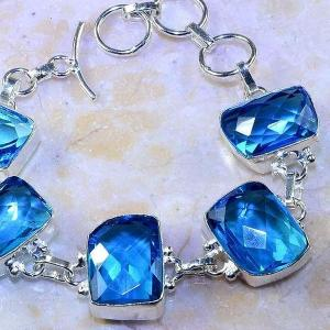 Tpz 472c bracelet topaze quartz bleue tanzanite bijou argent 925 vente achat