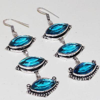 Tpz 474a boucles oreilles topaze bleue tanzanite bijoux6argent 925 vente achat