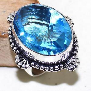 Tpz 478b bague t55 chevaliere medievale topaze bleue suisse bijoux argent 925 vente achat