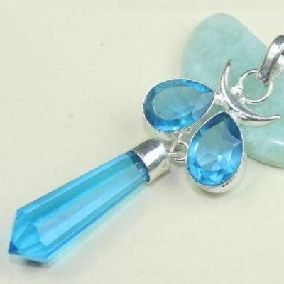 Tpz 493c pendentif pierre topaze bleu persan iolite lithotherapie bijou argent 925 vente achat