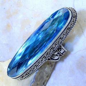 Tpz 497c bague t58 chevaliere medievale topaze bleue suisse bijoux argent 925 vente achat