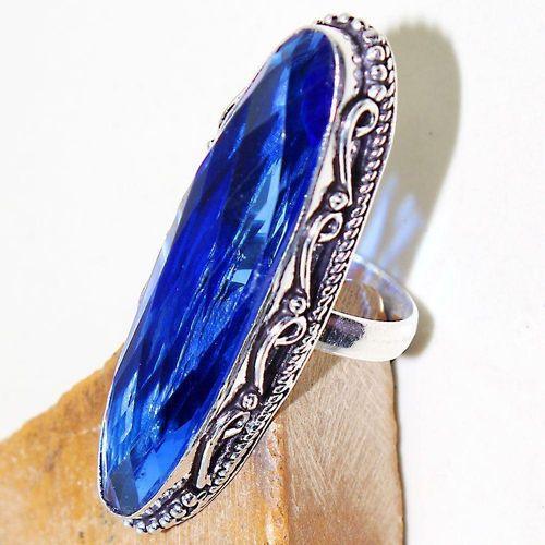 Tpz 509c bague t55 chevaliere medievale topaze bleue suisse bijoux argent 925 vente achat
