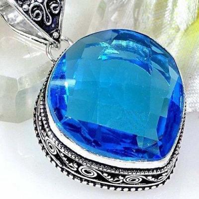 Tpz 516c pendentif pierre topaze bleu persan iolite lithotherapie bijou argent 925 vente achat