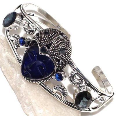 Tpz 534d bracelet torque bouddha topaze bleu gothique argent 925 bijoux achat vente