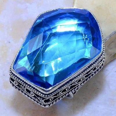 Tpz 539a bague t57 chevaliere medievale topaze bleue suisse bijoux argent 925 vente achat