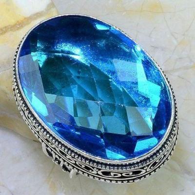 Tpz 540b bague t57 chevaliere medievale topaze bleue suisse bijoux argent 925 vente achat
