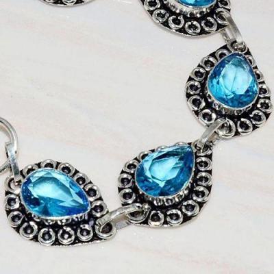 Tpz 589b bracelet topaze bleu iolite ethnique baroque bijou argent 925 vente achat